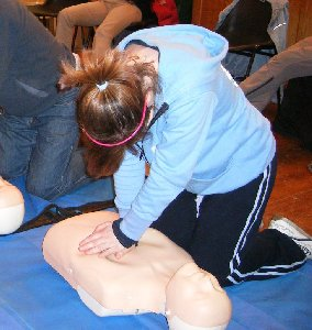 Erika doing CPR