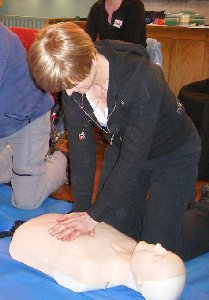 Kathryn doing CPR