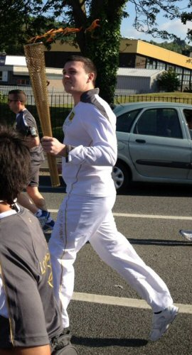 Fiach with Olympic Torch